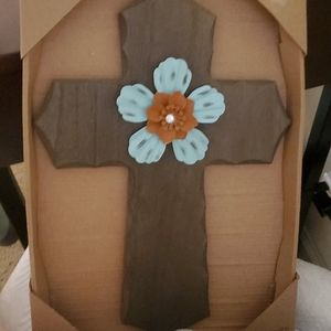 Wood cross with flowers New